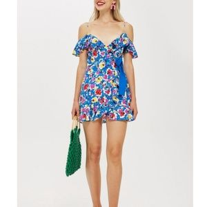 Topshop Strappy Floral Mini Dress